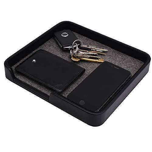 Connected Essentials Aufbewahrungstablett für Geldbörse, Autoschlüssel, Ersatzwechsel und Taschenauflage, Schwarz