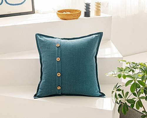 N / A Funda de cojín de Lino de algodón sólido 45x45 cm Rosa Azul Verde Beige para sofá Cama Decoración del hogar Funda de Almohada Botón de Coco 45 cm