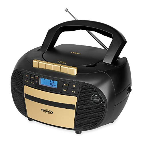 Jensen CD-550BG MP3 Top-Loading Boombox CD/MP3 Gold Series CD/MP3 AM/FM Radio Cassette Player, and Recorder Boombox Home Audio, Aux, Headphone Jack in (Black/Gold)