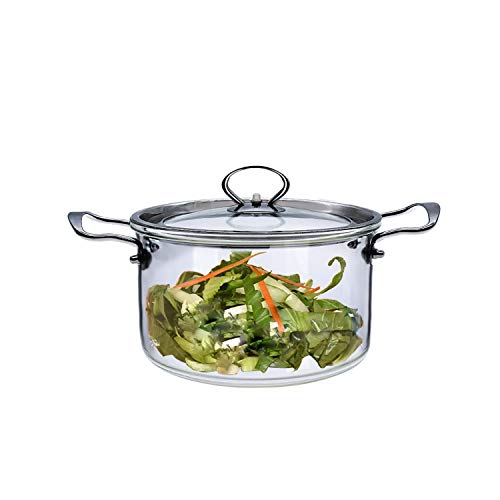Glastopf Deckel Transparent Glas Kochtopf - 3,5 l oder 5 l beheizbarer klarer Suppentopf Glas-Kochtopf mit Deckel für Suppensalat Instant-Nudel-Babynahrung (3,5 L)