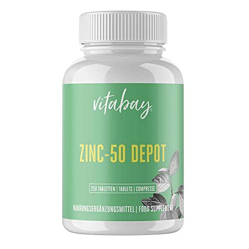 Vitabay Zink 50 mg • 250 Tabletten/ 500 Portionen • Hohe Bioverfügbarkeit • Made in Germany