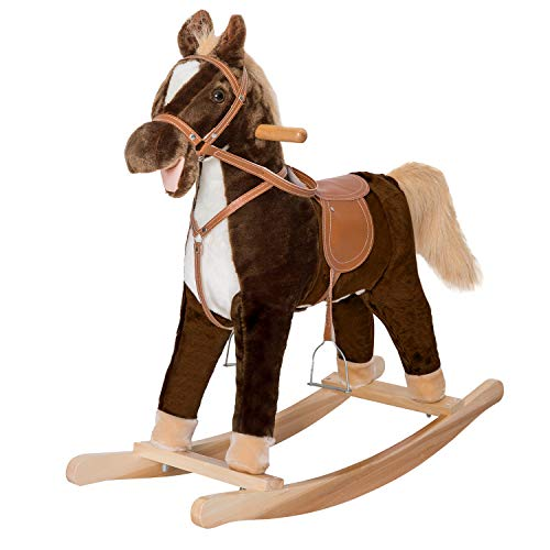 Kinbor Child Rocking Horse Pony Ride on Plush Toy with Realistic Sounds Brown