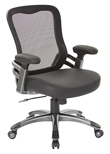 Office Star Breathable Mesh Back and Padded Faux Leather Seat Manager's Chair with Adjustable Arms and Light Water Transfer Accents, Black