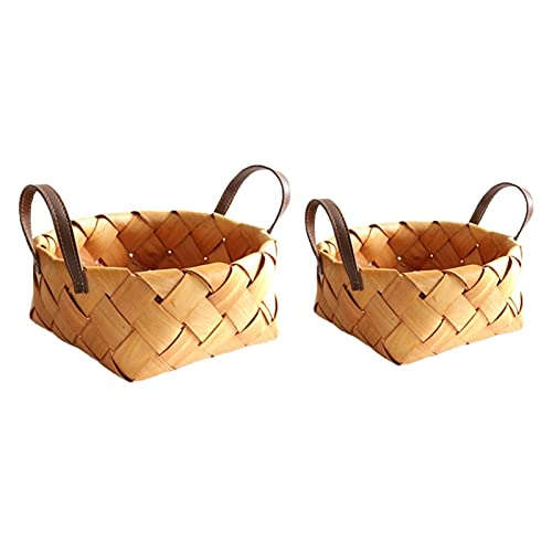 2 Pcs Woven Picnic Basket With Handle, Natural Hand Woven Storage Basket For Wedding Home Kitchen Food Picnic Bread Sundry Container Fruit Storage