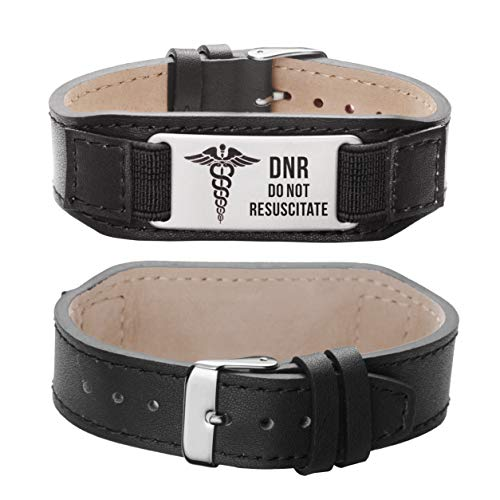 LinnaLove Comfortable Black Genuine Leather Medical id Alert Bracelets for Men and Women with Engraved DNR Do Not Resuscitate