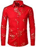 ZEROYAA Mens Hipster Gold Rose Printed Slim Fit Long Sleeve Dress Shirts/Prom Performing Shirts Z56 Red Medium