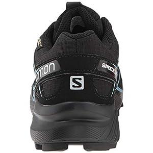 Salomon Women's Speedcross 4 GORE-TEX Trail Running Shoes, Black/Black/Metallic Bubble Blue, 8.5 M US