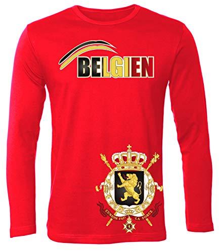 Belgien Belgium Belgique Langarm Longsleeve Fanshirt Fussball Fußball Trikot Look Jersey Herren Männer t Shirt Tshirt t-Shirt Fan Fanartikel Outfit Bekleidung Oberteil Hemd Artikel