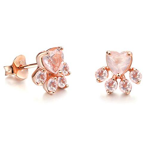 Orecchini con Zampa di Gatto Orecchini con Gatto in Argento Sterling Orecchini con Zampa di Cristallo Rosa per Donna (Oro rosa)