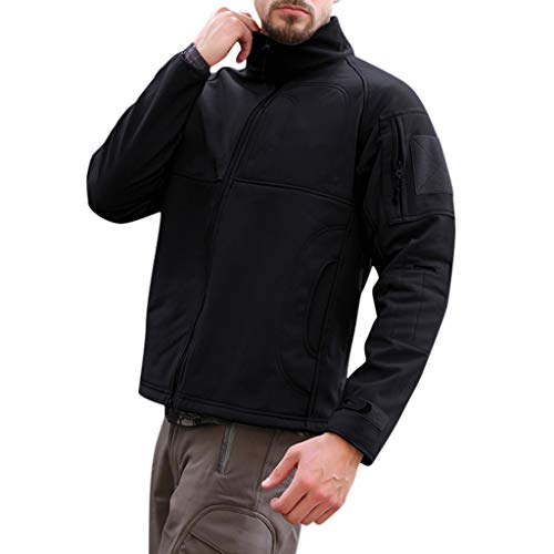 Men's Water-Resistant Softshell Jacket Winter Windproof Coat for Men Jacket Coat S-3XL Black