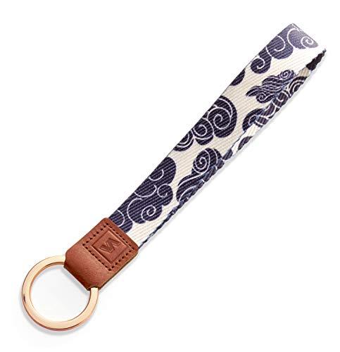 SENLLY Schlüsselband Wristlet Keychain Lanyard Strap Handschlaufe Schlüsselanhänger mit Ring und Echtem Leder, für Schlüssel, Mobile Handys Telefon, Kamera, Charms (Trib)