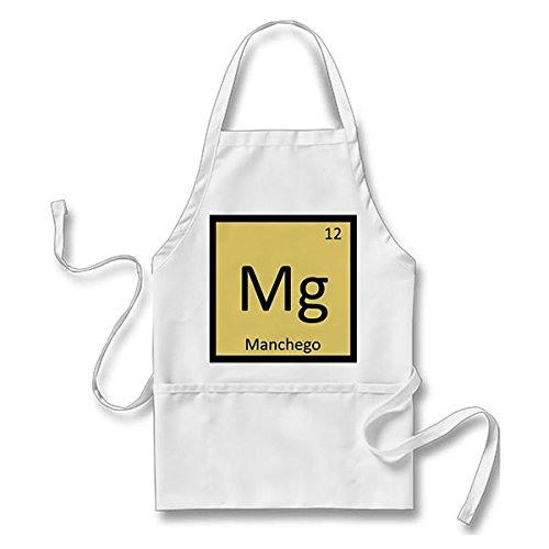 Smity 106 Funny Mg - Manchego Cheese Chemistry Periodic Table Apron White, One Size Fits Most