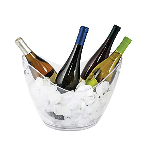 True Ice Bucket Holder Chilling Tub for Indoor and Outdoor Use, Holds 4 Wine Bottles, 10.25', Clear