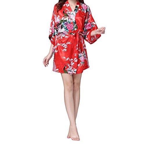 VILLAVIVI Vestido Párrafo Corto Mujer Kimono Pavo Flores Satén Albornoces Pijamas (L, Rojo)