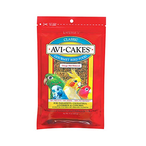 LAFEBER'S Classic Avi-Cakes Pet Bird Food, Made with Non-GMO and Human-Grade Ingredients, for Cockatiels Conures Parakeets (Budgies) Lovebirds, 8 oz