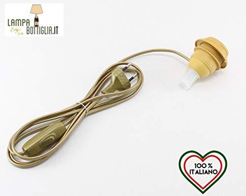 Horus Paralumi Adattatore Portalampada E27 per Bottiglia Lampada di Vino, Champagne, Spumante con Filo e Interruttore Giallo Oro - Lampada LED Inclusa