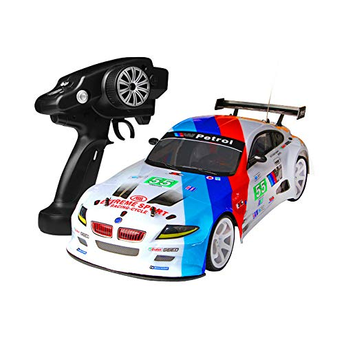 HSKB Ferngesteuertes Auto RC Car 2,4 G 4WD 1:10 70km / h Buggy Stunt High Power LED Racing Truck Geländewagen Drift Fernbedienung RTR Fahrzeug Jungen Spielzeug Geschenk (2pcs Batterie)