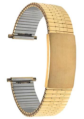 Bandini 14mm Goldton Edelstahl Stretch Uhrenarmband für Damen - Gerades Ende - Verstellbare Länge Uhrenarmband, Ersatzband Metall-Dehnungsarmband für Uhren - Keine Schließe