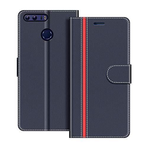 COODIO Handyhülle für Honor 8 Handy Hülle, Honor 8 Hülle Leder Handytasche für Huawei Honor 8 Klapphülle Tasche, Dunkel Blau/Rot