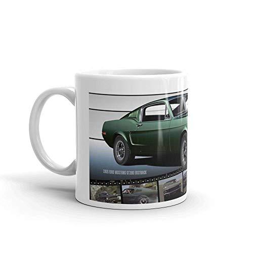 Steve McQueen Bullitt 1968 Ford Mustang. 11 Unzen Keramik Kaffeetassen mit C-Form Griff, bequem zu halten. 11 Unzen Keramik glänzende Tassen Geschenk für Kaffeeliebhaber