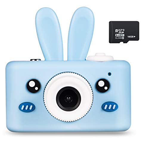 Abdtech Kids Camera Bunny Gifts for 3-8 Year Olds, Children Digital Cameras Creative Toys for Boys Girls Age 4 5 6 7 8, Kid Friendly Cam with 16GB SD Card Best Birthday (Blue )
