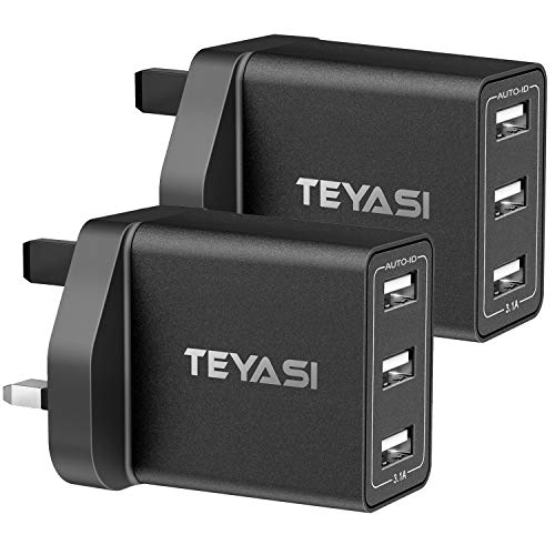 TEYASI USB Plug Charger [2 Pack],Multi USB Plug Adapter UK Wall Mains Charge 3Port with Smart IC Fast Charging Technology for iPhone 11 XS Max XR X 8 7 6 6s SE,Samsung S10 S9 S8 S7,Huawei,ipad ect