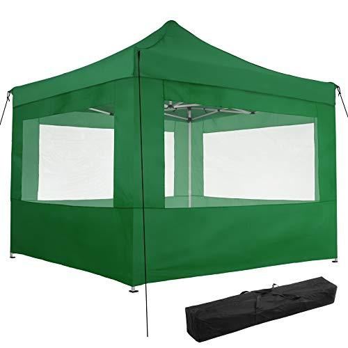 TecTake 800686 Folding Pop Up Garden Gazebo, 3 x 3 m, Alumium Frame, 100% Waterproof, with 4 Sidewalls, Tent Pegs and Bag (Green | no. 403157)