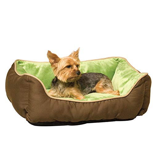 K&H Pet Products Self-Warming Lounge Sleeper Pet Bed Mocha/Green Small 16 X...