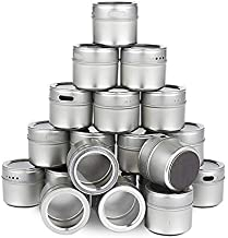 Magnetic Spice Tins Stainless Steel Spice Jar Set with Stickers Pepper Shakers Salt Pepper Set Seasoning for Kitchen Storage