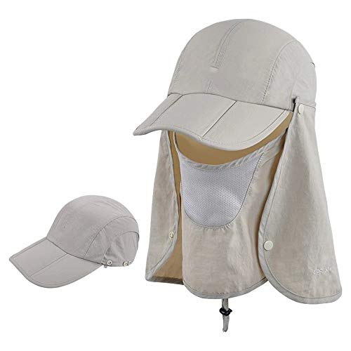 Preisvergleich Produktbild NNHK Strandhut Abnehmbarer Außen Sun-Schild-Hut Sun Cap Hals Gesicht Flap for Camping Garten Radfahren Wandern Summer Beach Outdoor Cap (Color : 1,  Size : One Size)