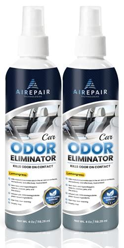 Car Odor Eliminator Spray-Professional Deodorizer, Air Freshener and Purifier-for Smoke, Cigarettes, Cigar, Grease Smells-Plant Based, Natural, Neutralizer Absorber (Lemongrass, 2-Pack)