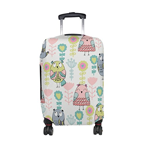 DAFARUYI Luggage Cover Owls and Flowers Suitcase Protector Cover Elastic Fits 18-32 Inch