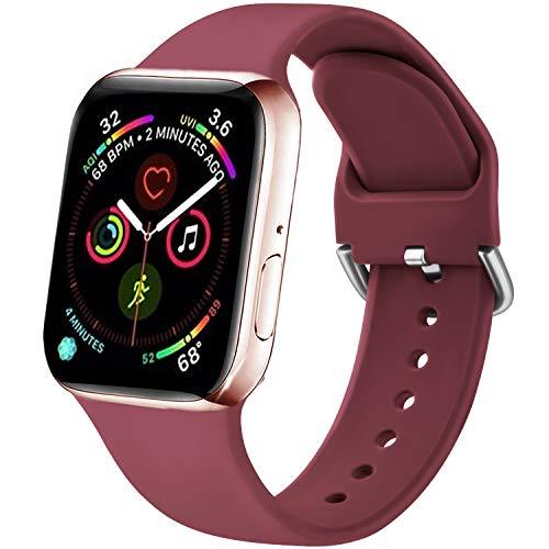 Funeng - Correa compatible con Apple Watch de 38 mm, 40 mm, 42 mm, 44 mm, nueva correa de silicona deportiva suave para iWatch Serie 6, 5, 4, 3, 2, 1, se (38/40 mm, S/M, 05), color rojo