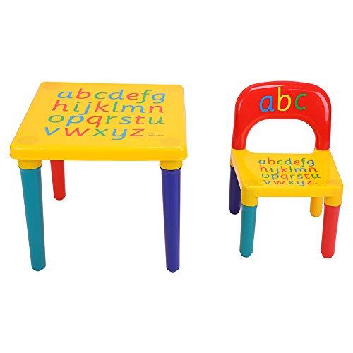 EBTOOLS - Juego de Mesa y sillas Infantiles de plástico con Alfabeto de Colores para niños y niñas, Capacidad máxima de 50 kg