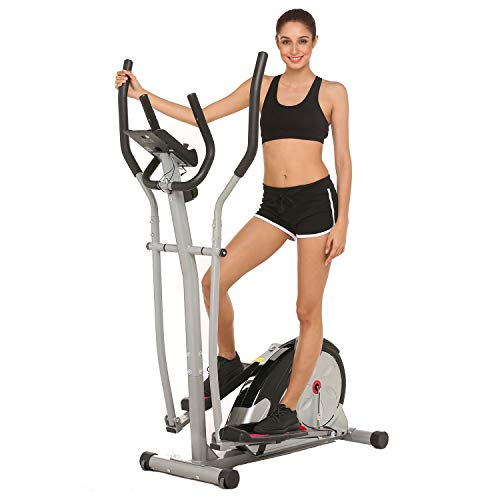 ncient Elliptical Machine Eliptical Exercise Machine for Home Use Elliptical Trainer Indoor Workout Fitness Machine Magnetic Smooth Quiet Driven Pulse Rate Grips (Silver)