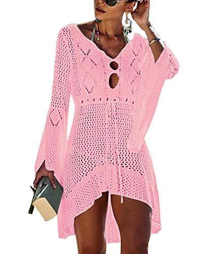 Walant - Vestito da spiaggia da donna, a maniche svasate, sexy, lavorato a maglia traforata all'uncinetto, taglia tunica Rose Clair Taglia unica