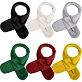 6 Pieces Fleece Plush Scarf Warm Winter Autumn Scarf Adjustable Children Neck Warmer for Kids (Black, White, Gray, Green, Red, Yellow)