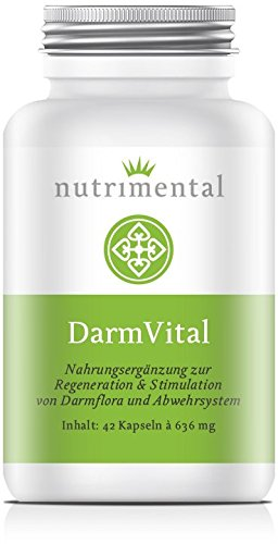 Nutrimental Darmvital - 42 vegetarische Kapseln mit Laktobakterienpulver, Jod, Selen, Vitamine B6, B12, C und Folsäure - Hergestellt in Deutschland