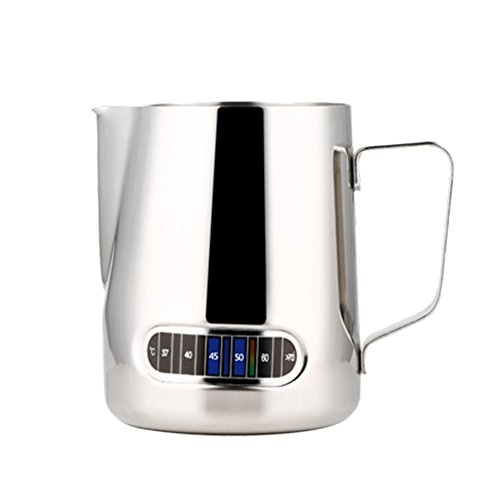 Hofumix Milk Frothing Pitcher Stainless Steel Milk Espresso Steaming Pitchers with Thermometer for Espresso Machines, Milk Frothers, Latte Art(20oz /600ml)