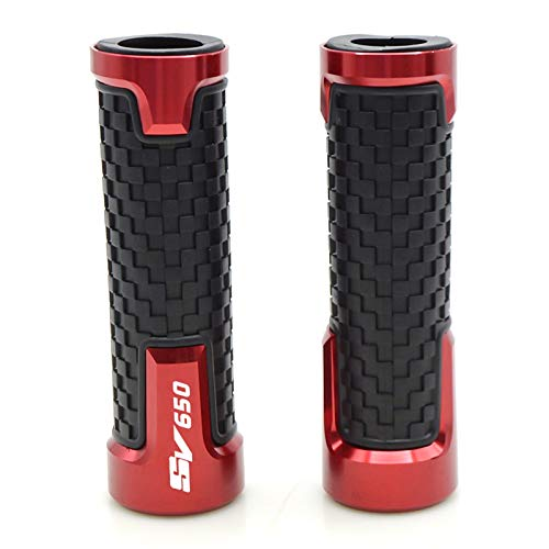 Accesorios de aluminio CNC Racing motocicleta 7/8 '22 mm motocicleta manillar Grips Moto manillar Grips para Suzuki SV650 SV650/S CNC manillar puños (color: rojo)
