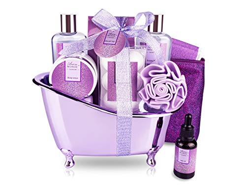Bath Spa Basket Gift Set, Bath & Body Set for Women & Men,Lavender Scent, Includes Body Lotion, Shower Gel, Bath Salts, Bubble Bath, Bath Fizzers,Bath Oil, Loofah Back Scrubber, Bath Tub, 10 Pcs