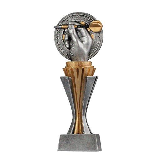 pokalspezialist Pokal Trophäe Dart/Darts mit Sockel in Gold/Silber ca. 17 cm hoch Größe S