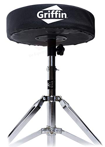 Drum Throne Stand by Griffin | Padded Drummer's Seat | Comfortable Drum Set...