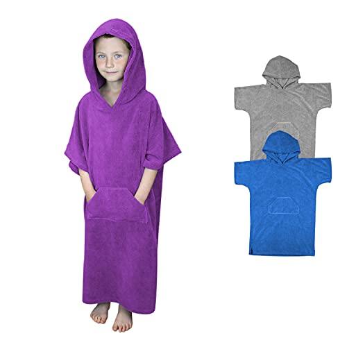 Vivezen ® Serviette Poncho de Bain ou de Plage avec Poche - Enfant - Trois Coloris