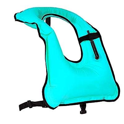 Faxpot Men/Women Adult Inflatable Life Jacket Snorkel Vest, Blue, Size Large