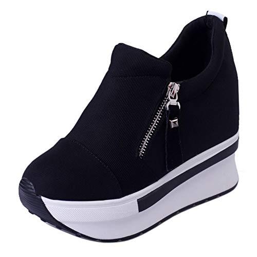 RAZAMAZA Mujer Moda Plataforma Zapatos Low Top Tacón De Cuña Zapatillas Pumps Suela Gruesa Caminar Zapatos Cremalleras Black Talla 40 Asian