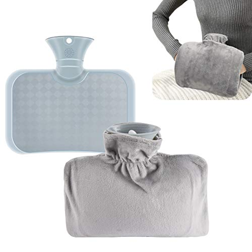 1.5 Liter Hot Water Bottle with Soft Cover-Hot Water Bag with Hand Pockets for Cramps, Neck, Shoulders Pain Relief, Hot Cold Pack for Hot and Cold Therapy and Feet Warmer (Grey)