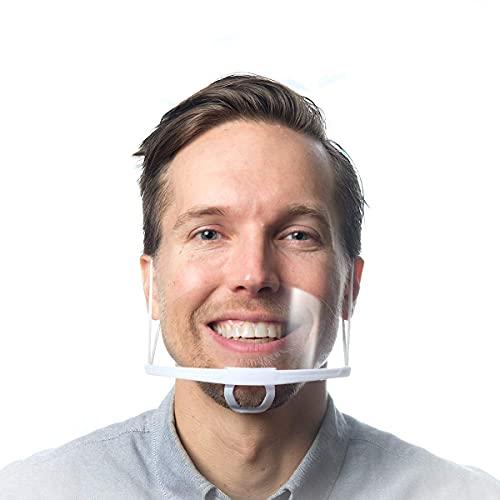 X10 Mascarillas Transparentes Homologadas Protectores faciales de plástico para la boca, viseras transparentes lavables y reutilizables para la boca y la barbilla, protección facial contra la saliva