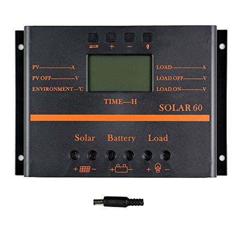 Fesjoy SOLAR60 Schermo LCD intelligente a protezione multipla Regolatore di carica solare 12V / 24V 60A Protezione durevole del circuito ABS Custodia