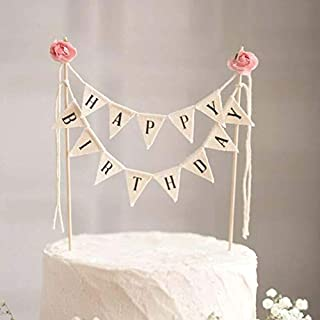 Happy Birthday Cake Bunting Topper Cake Topper Garland, Handmade Pennant Flags with Wood Pole Ivory Pink Roses (With Pink Roses)